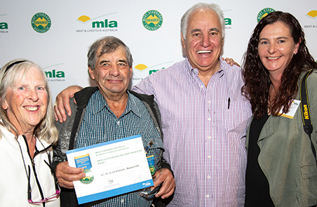Dawn and Adrian Stoeckel, with Sam Kekovich, and Roz Stoeckel at the awards presentation at Naracoorte last night