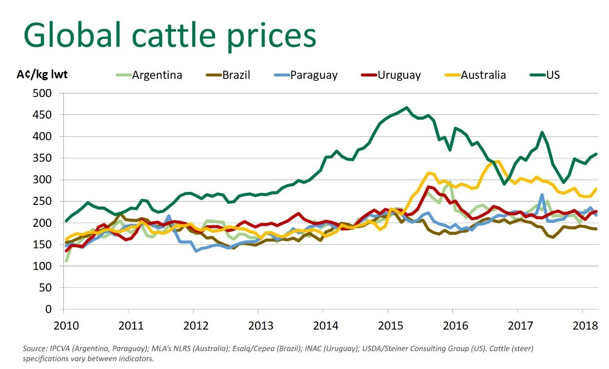 Global cattle prices